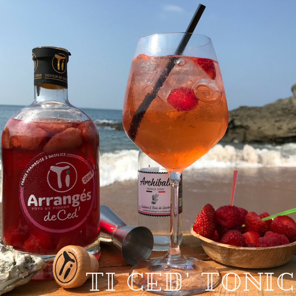 Ti Ced' Tonic : Découvrez le cocktail FF2B à réaliser avec notre Ti Arrangés de Ced' Fraise Framboise 2 Basilics !