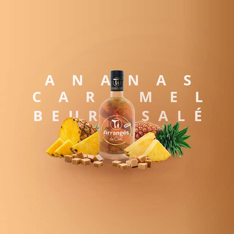 Ananas Victoria de la Réunion, caramel beurre salé artisanal de Nantes et Rhum agricole AOC Martinique affiné en fûts de Sauternes et de Cognac.